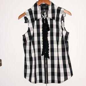 Alfani black/white checkered sleeveless ruffle top